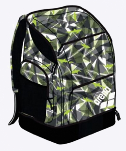 Spiky 2 large backpack - shattered sharks black lime