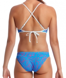 Fluff Ball Cross Back Tie Bikini